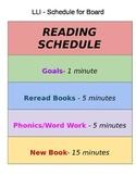 LLI Printable Schedule for Board/Pocket Chart