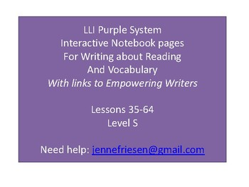 LLI Purple System Level S Interactive Notebook & Vocabulary