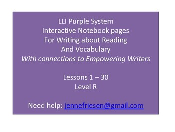 LLI Purple System Level R Interactive Notebook & Vocabulary