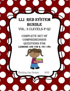 LLI RED System Bundle of Comprehension Questions (Vol. 3-Levels P-Q)