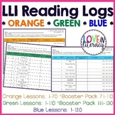 LLI Reading Logs:  Orange, Green, and Blue