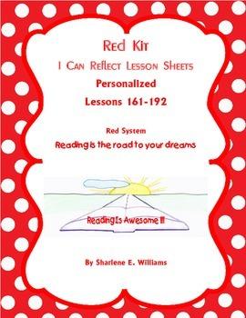 "Red Kit ""I Can Reflect"" Worksheets lessons 161-192 Novel & Test Prep"