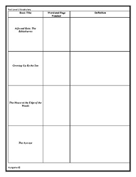 LLI Red Level L Vocabulary Sheets