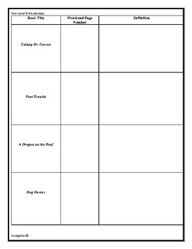 LLI Red Level N Vocabulary Sheets