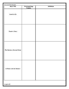 LLI Red Level O Vocabulary Sheets