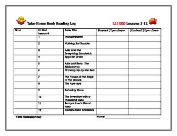 LLI Red System Free Sample Take Home Reading Logs (Level L)