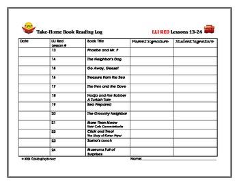 LLI Red Take Home Reading Logs