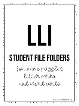 LLI Student File Folders Labels {FREEBIE}