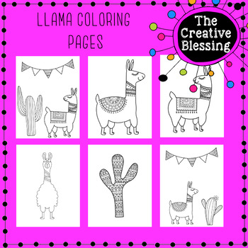 Llama Coloring Pages By The Creative Blessing Teachers Pay Teachers