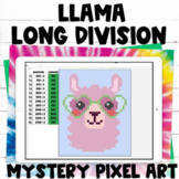 LLama Long Division Practice Pixel Art Digital Activity