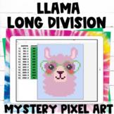 LLama Long Division Practice Pixel Art Digital Activity