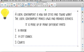 LOCAL GOVERNMENT SMARTBOARD LESSON AND WORKSHEET