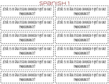 LOD Spanish & English writing prompts