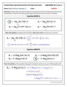 LOGARITHMIC EQUATIONS with the same solution - Group Activity (24 problems)
