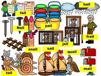 LONG VOWEL A CLIPART, (AIL WORDS)