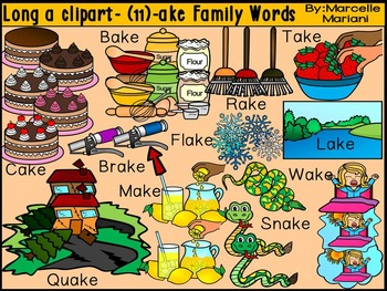 CVCE LONG VOWEL A CLIPART (-AKE WORDS)