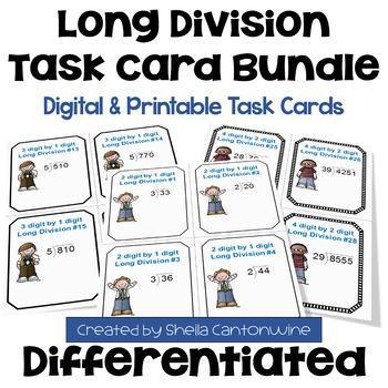 Long Division Task Cards BUNDLE (3 Levels)