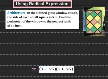 LONG HAUL: Algebra 2 Binomial Radical Expression 2 Smartboard #42