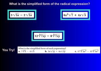 LONG HAUL: Algebra 2 Binomial Radical Expression Smartboard #40