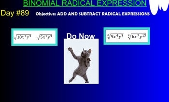 LONG HAUL: Algebra 2 Binomial Radical Expression Smartboard #40