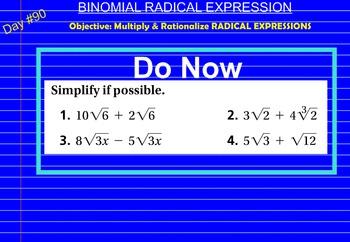 LONG HAUL: Algebra 2 Binomial Radical Expression Smartboard #41