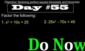 LONG HAUL: Algebra 2 Factoring Quadratics 2 Smartboard #27