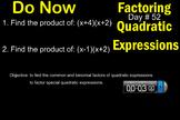 LONG HAUL: Algebra 2 Factoring Quadratics Smartboard #26