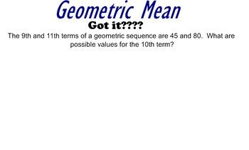 LONG HAUL: Algebra 2 Geometric Mean Smartboard #54