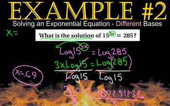 LONG HAUL: Algebra 2 Logarithmic Equations Smartboard #56