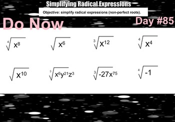 LONG HAUL: Algebra 2 Multiply and Divide Radical Expressions Smartboard #38