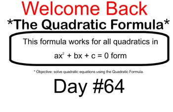 LONG HAUL: Algebra 2 Quadratic Formula Smartboard #31
