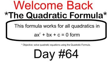 LONG HAUL: Algebra 2 Quadratic Formula Smartboard #31
