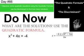 LONG HAUL: Algebra 2 Quadratic Formula and Discriminant Smartboard #32