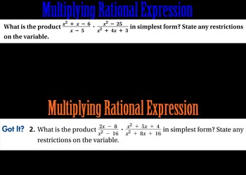 LONG HAUL: Algebra 2 Rational Expressions Smartboard #48