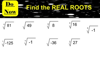 LONG HAUL: Algebra 2 Roots and Radical Expressions 2 Smartboard #37