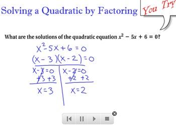LONG HAUL: Algebra 2 Solving Quadratics Smartboard #28