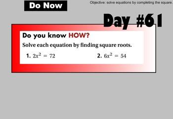 LONG HAUL: Algebra 2 Solving Quadratics by Completing the Square Smartboard #30