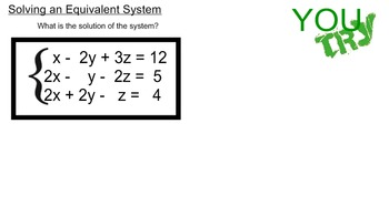 LONG HAUL: Algebra 2 Systems with 3 Variables Smartboard #25