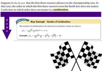 LONG HAUL: Algebra2 Combinations Smartboard