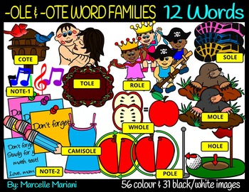 CVCE LONG VOWEL O CLIPART(-OTE & OLE WORDS)