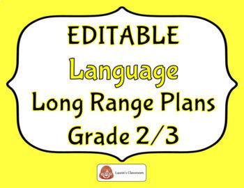 LONG RANGE PLANS – Language – Grade 2/3