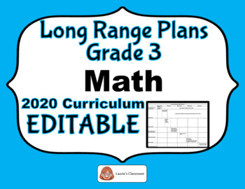 LONG RANGE PLANS – Math – Grade 3