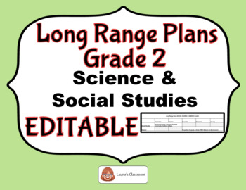 LONG RANGE PLANS – Science/Social Studies – Grade 2