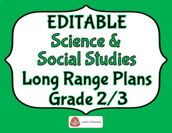 LONG RANGE PLANS – Science/Social Studies – Grade 2/3