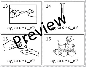 LONG VOWEL A TASK CARDS (ay, ai and a_e)