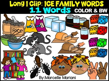 CVCE LONG VOWEL I CLIPART (-ICE WORDS)