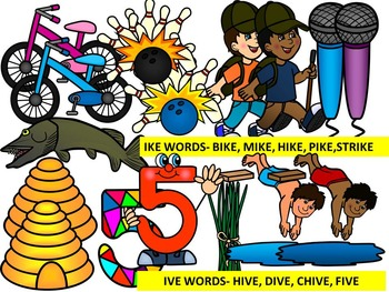 CVCE LONG VOWEL I CLIPART (-IKE, -IVE, -ICE WORDS & EXTRAS)