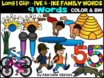 CVCE LONG VOWEL I CLIPART (-IKE & -IVE WORDS)