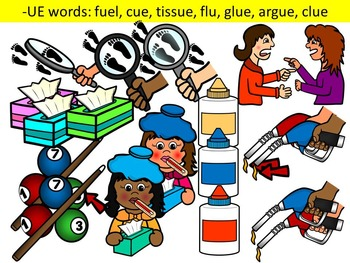 LONG VOWEL U CLIPART (_U_E, UE, UI)- LONG U VOWEL WORDS CLIPART