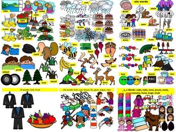 LONG VOWELS CLIP ART BUNDLE- 118 Words, 479 images